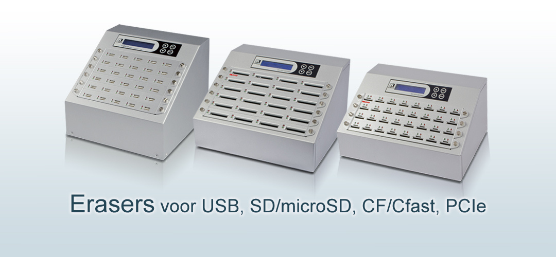 Erasers voor USB SD microSD CF CFast PCIe